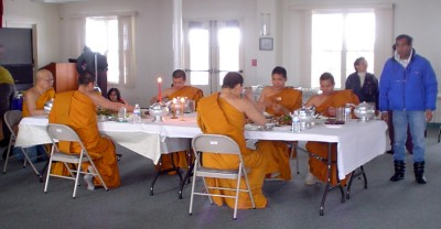 Thai Monks at Dinner Table